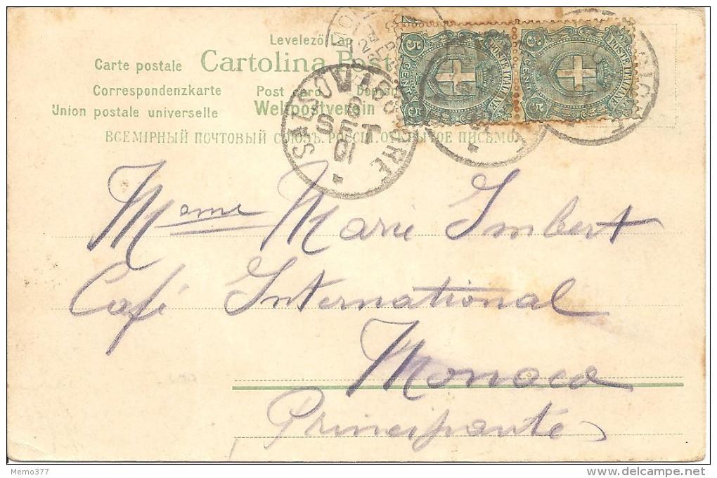 """ITALIE  -- CPA  -- FANTAISIE COLORISEE  --  Adressée à Mme Marie IMBERT à MONACO    """" Précuseur """" - Italia"""