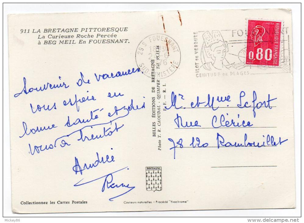 BEG MEIL EN FOUESNANT-1976-La Curieuse Roche Percée,cpsm 15 X 10 N° 911  éd Belles éditions De Bretagne..à Saisir - Beg Meil