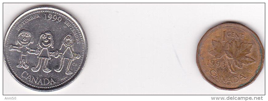 """"""" Münzen Von Kanada, 1 Cent, 1993, 25 Cent, 1999 Sehr Schön, Ansehen - Münzen"""