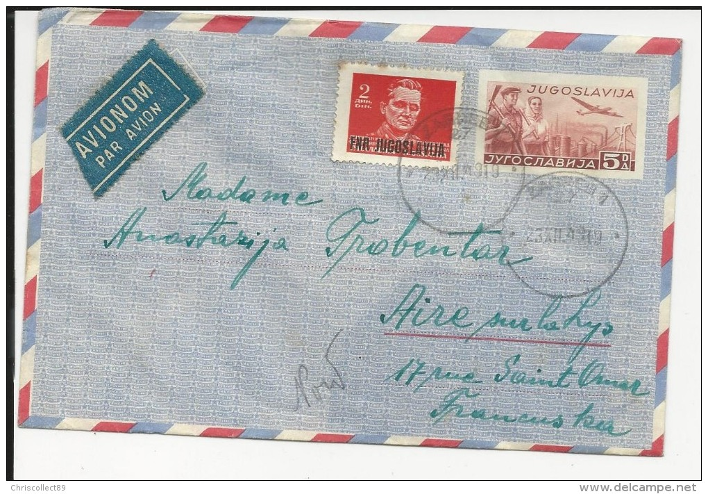Yougoslavie : Enveloppe Entier Postal Par  Avion + Timbres - 1919 - Postal Stationery