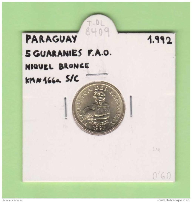 PARAGUAY   5  GUARANIES   Niquel Bronce  F.A.O.  KM#166a  1.992    SC/UNC     T-DL-8409 - Paraguay