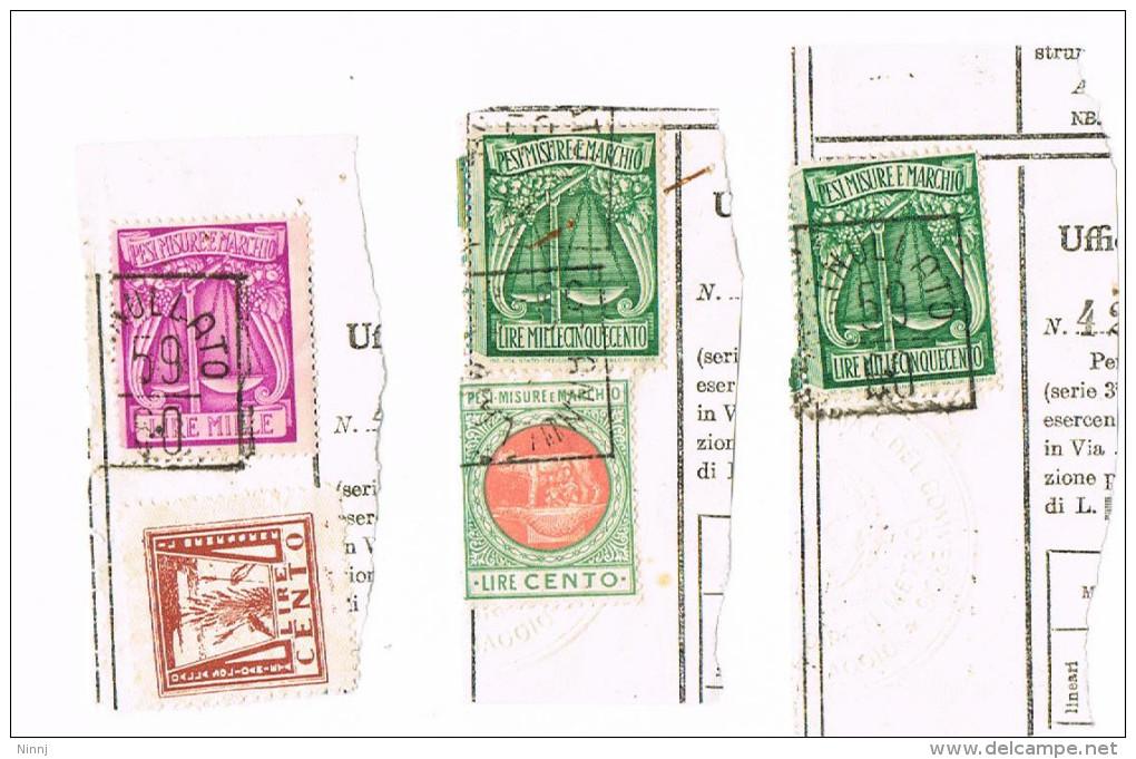 Lotto 101 - Pesi Misure E Marchio Su 3 Frammenti £.1.500 £. 1. 000  E £. 100 - Revenue Stamps