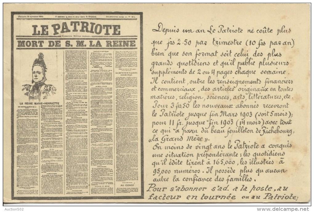 TP 53 Roulette Bruxelles 1902 S/CP Publicitaire 'Le Patriote'v.Boussu-Lez-Mons PR1877 - Rollo De Sellos 1900-09