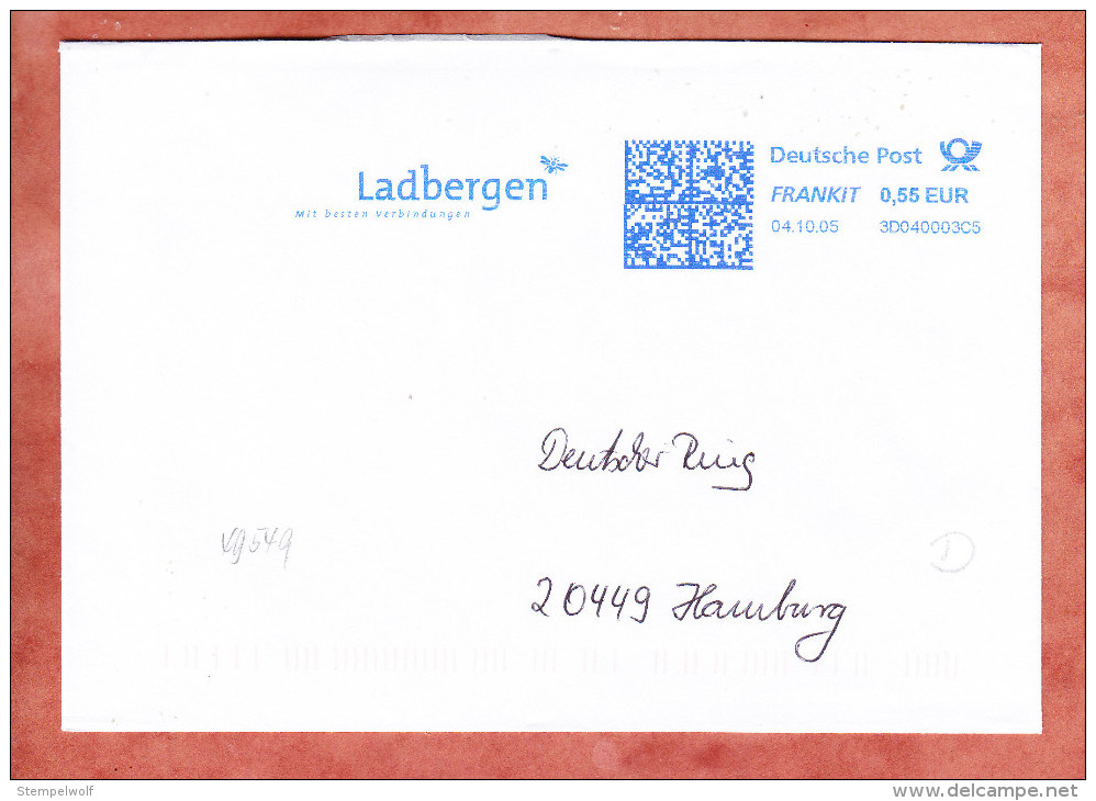 Brief, FRANKIT Francotyp-Postalia 3D040.., Biene?, Ladbergen Mit Besten Verbindungen, 55 C, 2005 (75346) - Covers & Documents