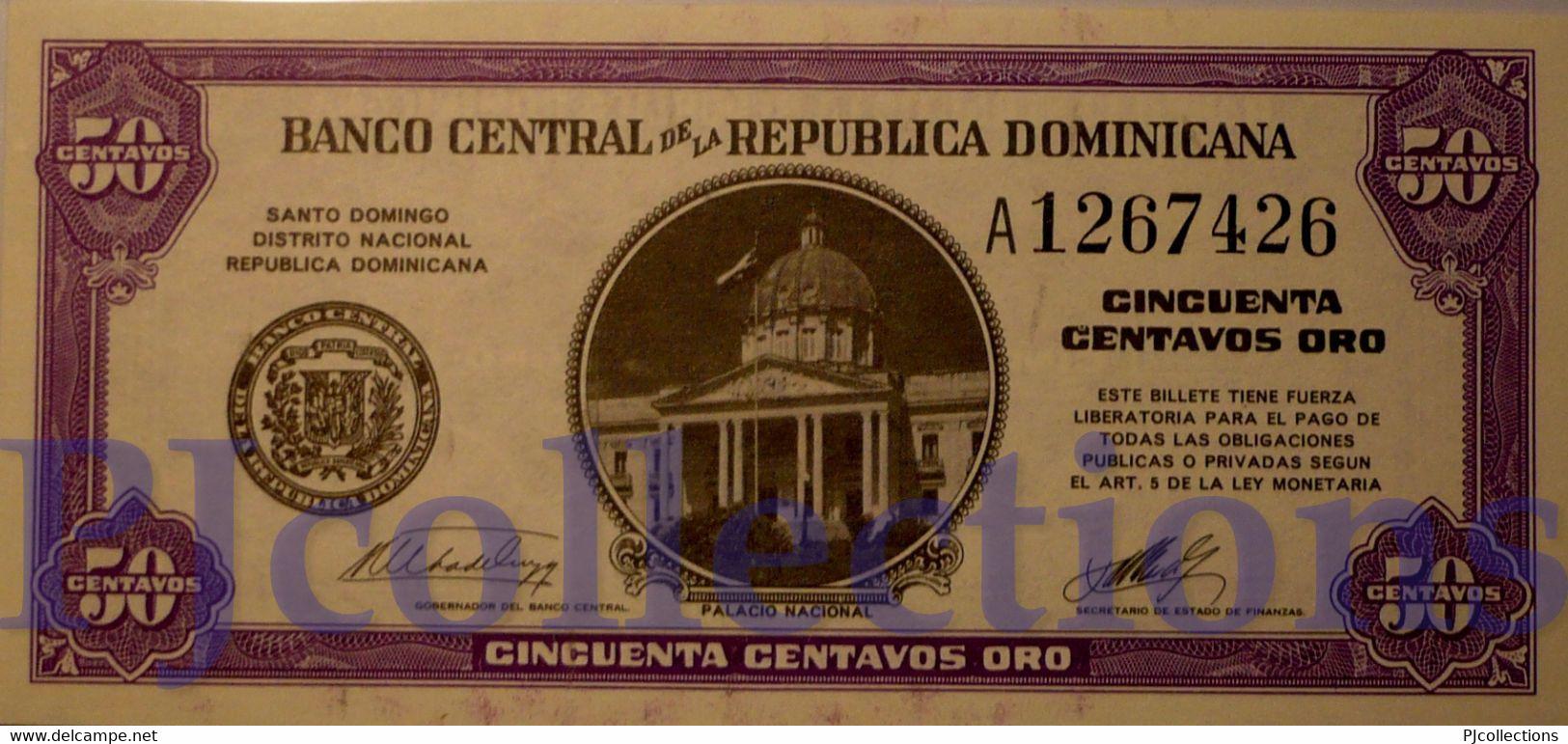DOMINICAN REPUBLIC 50 CENTAVOS ORO 1961 PICK 89a UNC - Dominicana