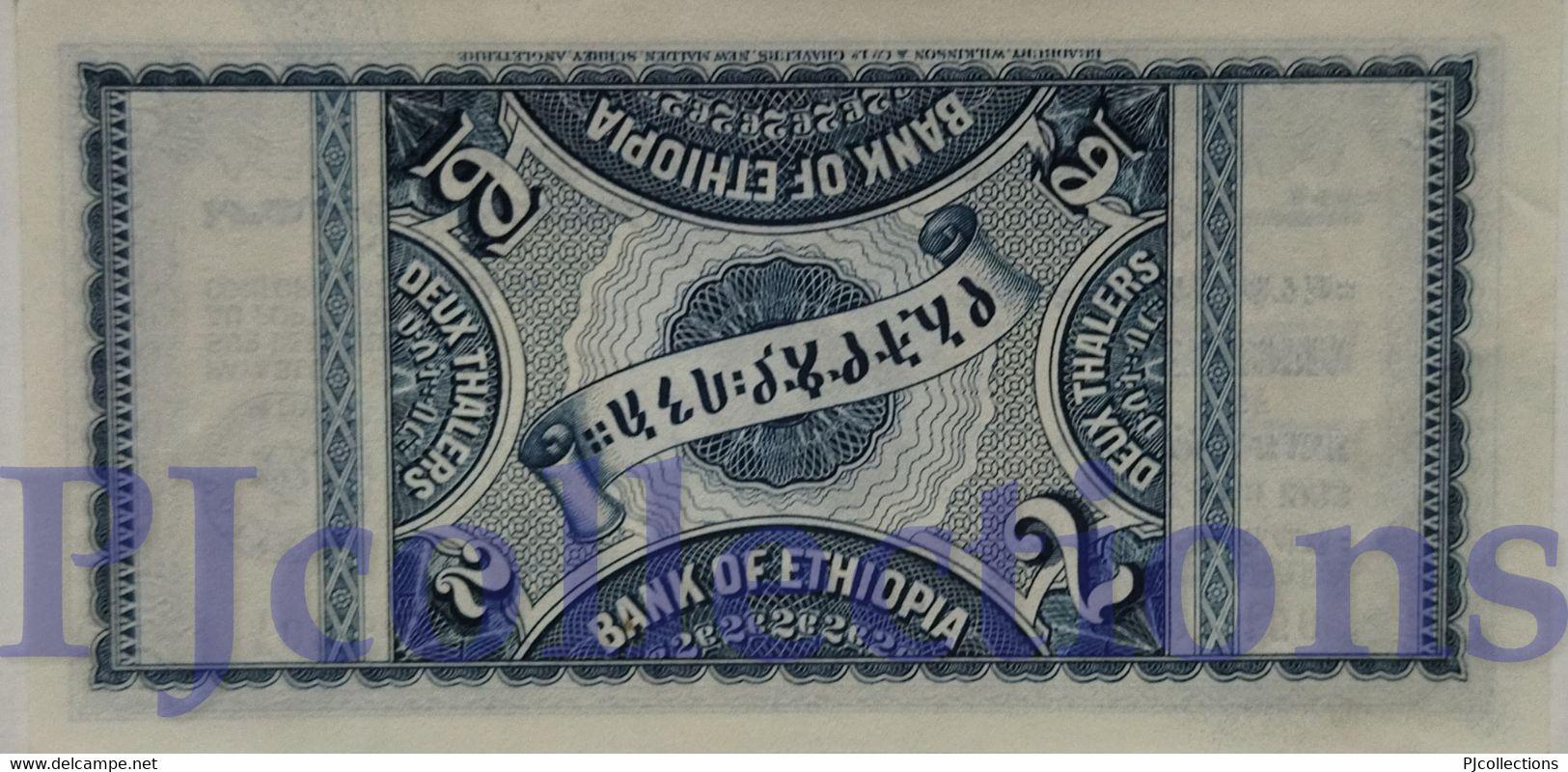 ETHIOPIA 2 THALERS 1933 PICK 6 AUNC RARE - Ethiopie