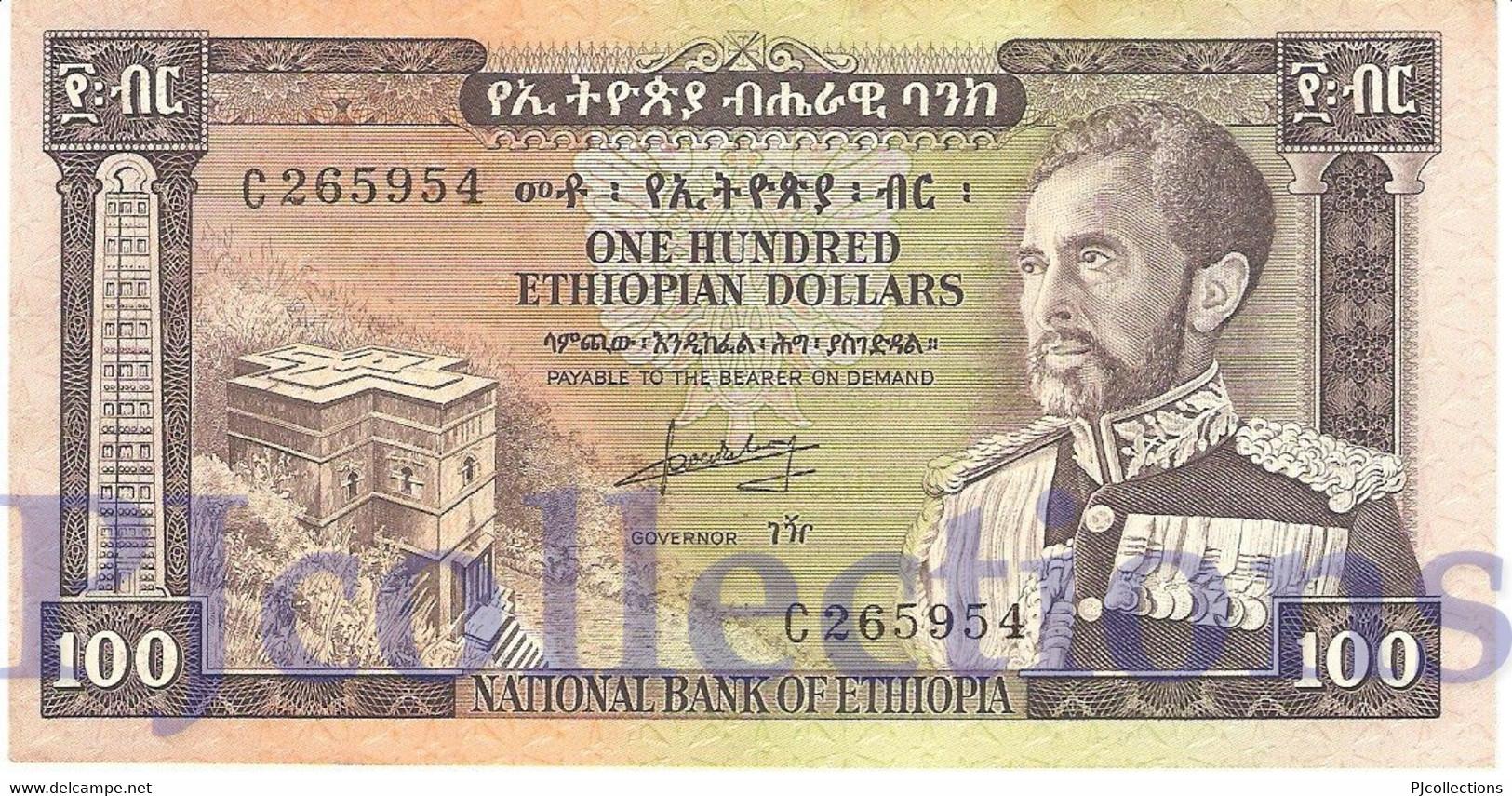 ETHIOPIA 100 DOLLARS 1966 PICK 29a AU/UNC - Ethiopie
