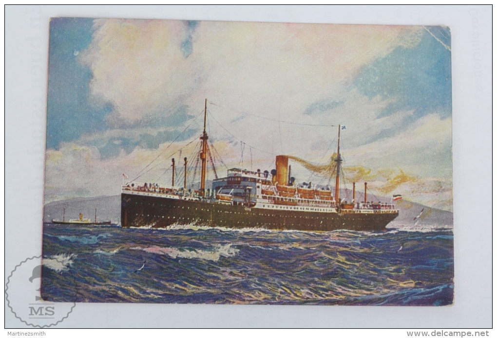 Old Illustrated Boat Postcard - Norddeutscher Lloyd Germany Shipping Company - Weser - Barche