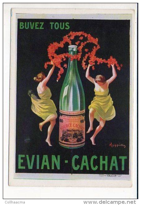 """PUBLICITE - Reproduction Affiche Ancienne  - Buvez Tous """"Evian Cachat """" - Advertising"""