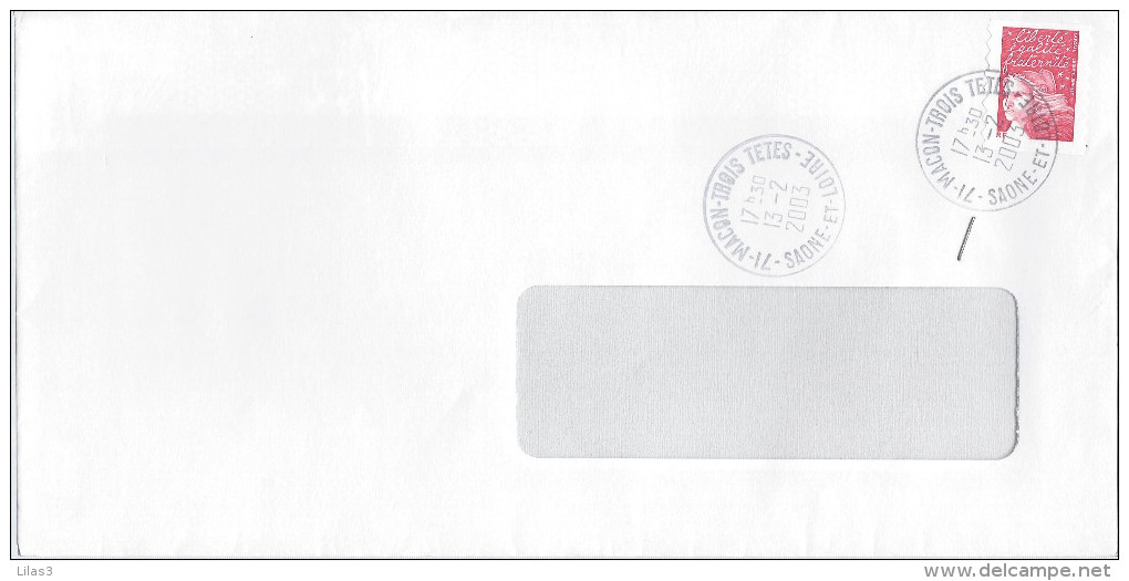MACON TROIS TETES SAONE ET LOIRE 2003 - Postmark Collection (Covers)