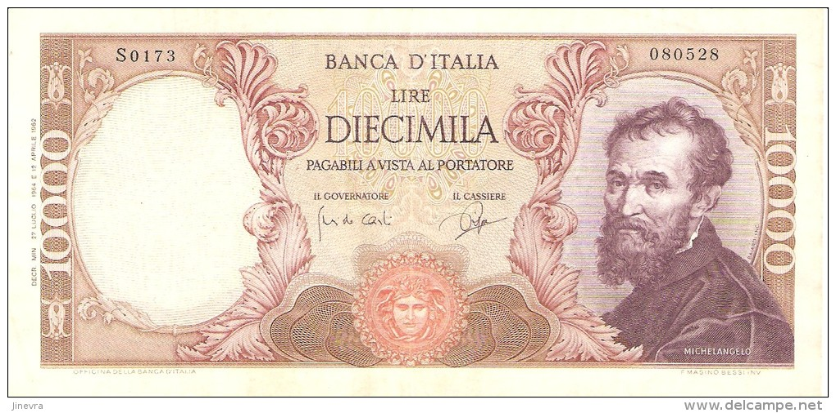 ITALY 10000 LIRE 1964 PICK 97b XF RARE - [ 2] 1946-… : Républic