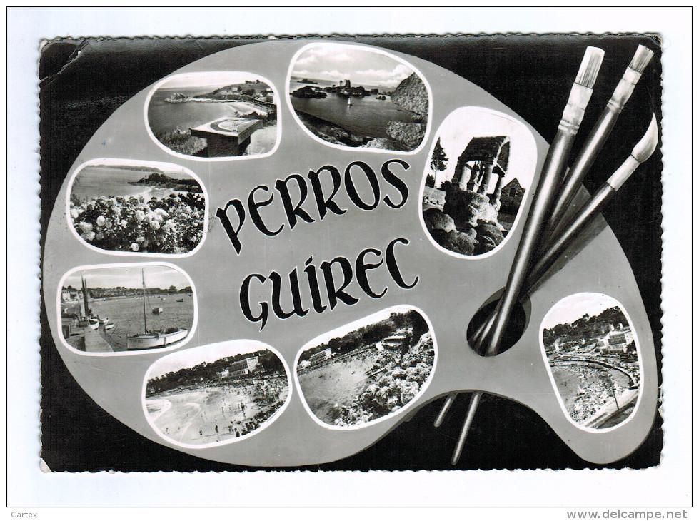 22c03CpmPERROS GUIREC Carte Photo  Multivues - Perros-Guirec