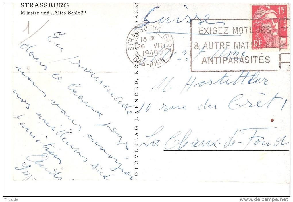 Marcophilie-Flamme STRASBOURG GARE - 1949 - EXIGEZ MOTEURS ET AUTRES MATERIELS ANTIPARASITES -Marianne De Gandon YT 813 - Elsass-Lothringen