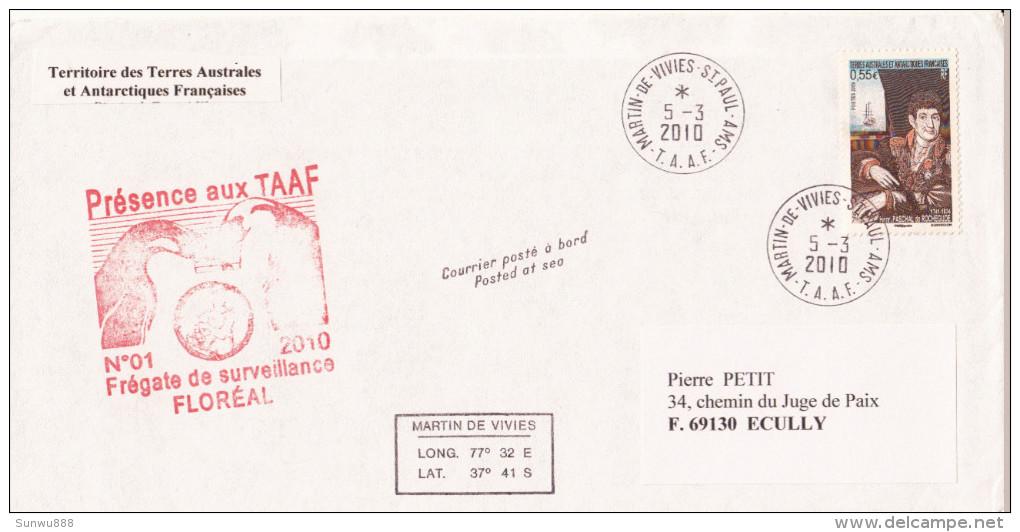 TAAF Frégate De Surveillance Floréal Déploiement Courrier Posté à Bord Martin De Vivies 2010 (voir Photos) - Non Classés
