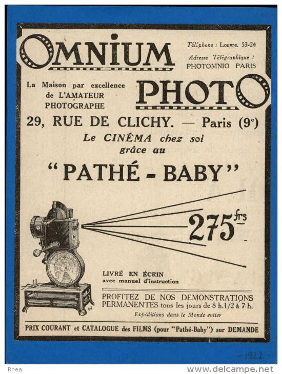 CINEMA - Publicité Tirée D´une Revue De 1922 Collée Sur Feuillet - Caméra  Pathé - Photographie - Publicités