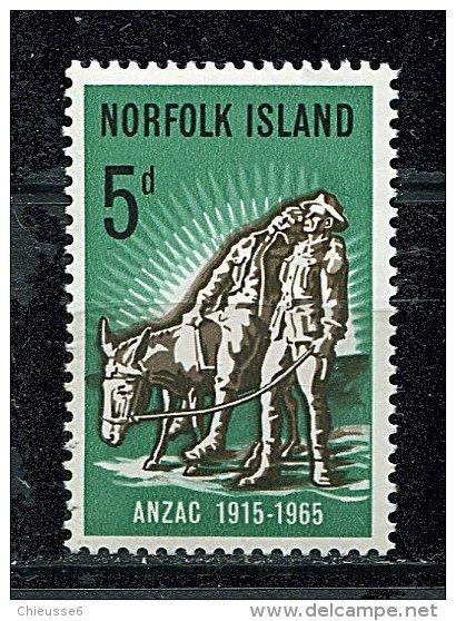(cl 9 - P14) Norfolk ** N° 60  (ref. Michel Au Dos)  - Cinquant. De L'arrivée Des Anzac (cavalier)- - Norfolk Island