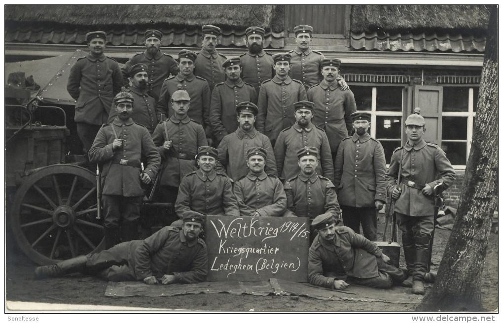 Ledegem / 1914-18 / Fotokaart Met Mooie Feldpoststempels - Ledegem