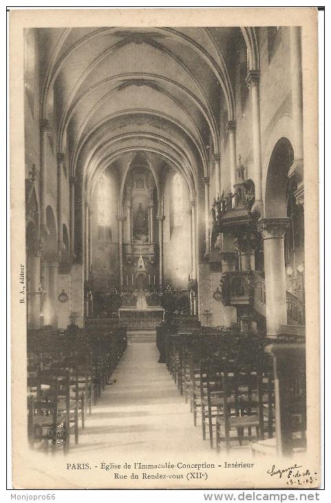CPA Du Temps Jadis De Paris (XII ème Arrts)– Eglise De L'immaculé-Conception – Intérieur – Rue Du Rendez-vous - Eglises