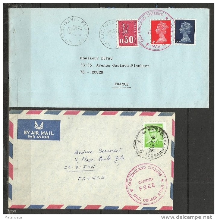1971 BRITISH POSTAL STRIKE : TWO COVERS OLD ENGLAND CITIZENS (FRANCE AND BELGIUM) - Postmark Collection