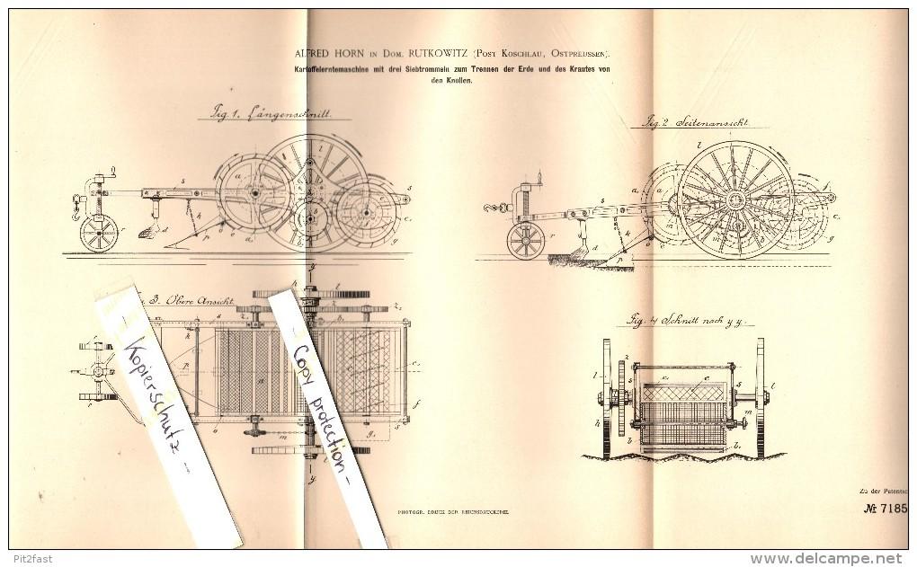 Original Patent - A. Horn In Domäne Rutkowitz B. Koschlau / Koszelewy , 1893 , Kartoffel-Erntemaschine , Rybno / Rübenau - Ostpreussen