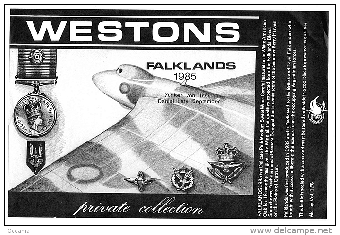 Vulcan Bomber With Falkland War Medals In Wine Label - Labels