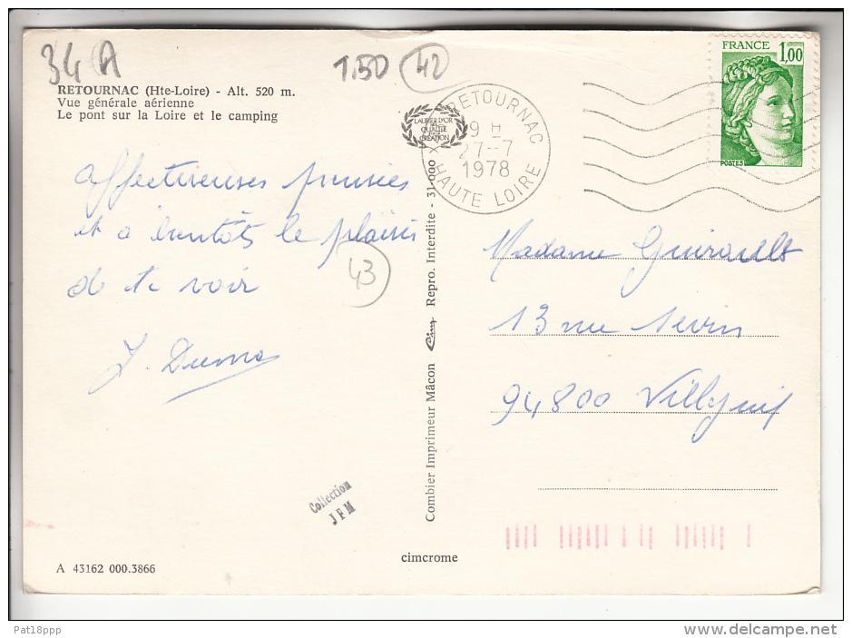 RETOURNAC 43 - Vue Générale Aérienne : Pont Sur La Loire Et Le Camping - CPSM GF 1978 - Haute Loire - Retournac
