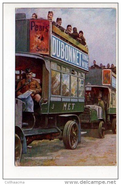 """PUBLICITE - Vin Tonique Au Quinquina """"Dubonnet """" Guerre 1914/18 - Autobus Londonniens Sur Le Front / 2 Photos - Advertising"""