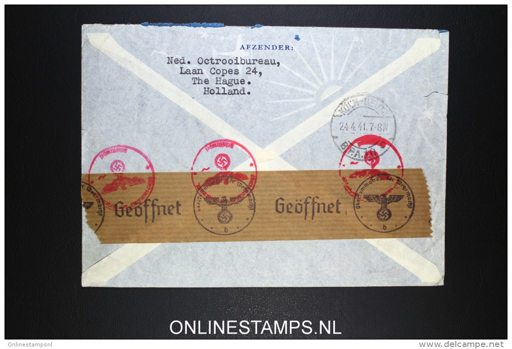 Netherlands: Airmail Cover 1941  The Hague Via Lisboa Per Clipper To  USA  NVPH 366 + 380 Censored - Periode 1891-1948 (Wilhelmina)