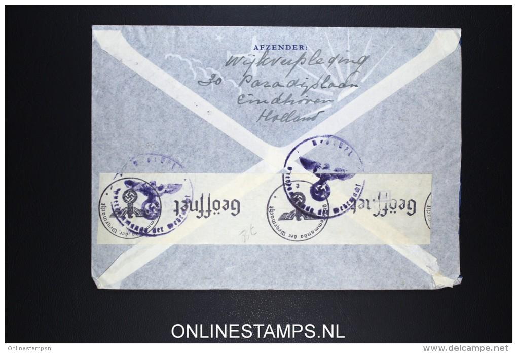 Netherlands: Airmail Cover 1943  Eindhoven Via Lisboa  To USA  NVPH 363 Strip X 2 Censored - Periode 1891-1948 (Wilhelmina)