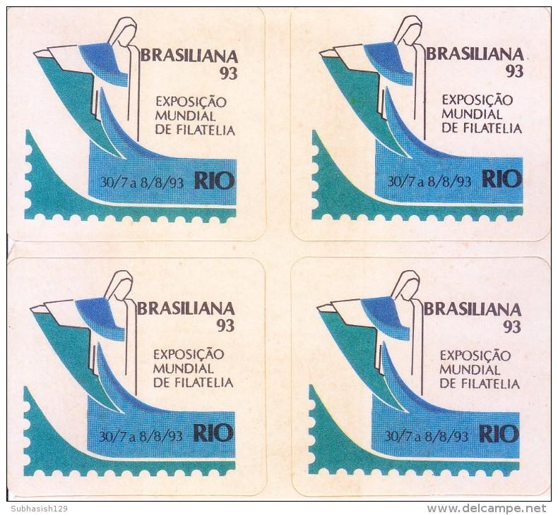 LABEL / STICKER - BRASILIANA 1993 - INTERNATIONAL STAMP EXHIBITION - BLOCK OF 4 LABELS - Stickers