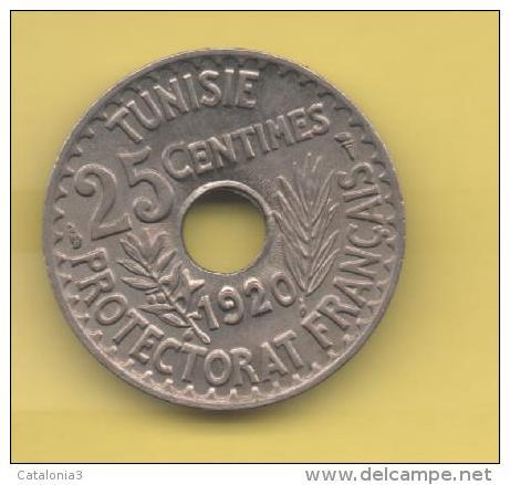 TUNEZ - PROTECTORADO FRANCES -  25 Centimos 1920 SC  KM244 - Túnez
