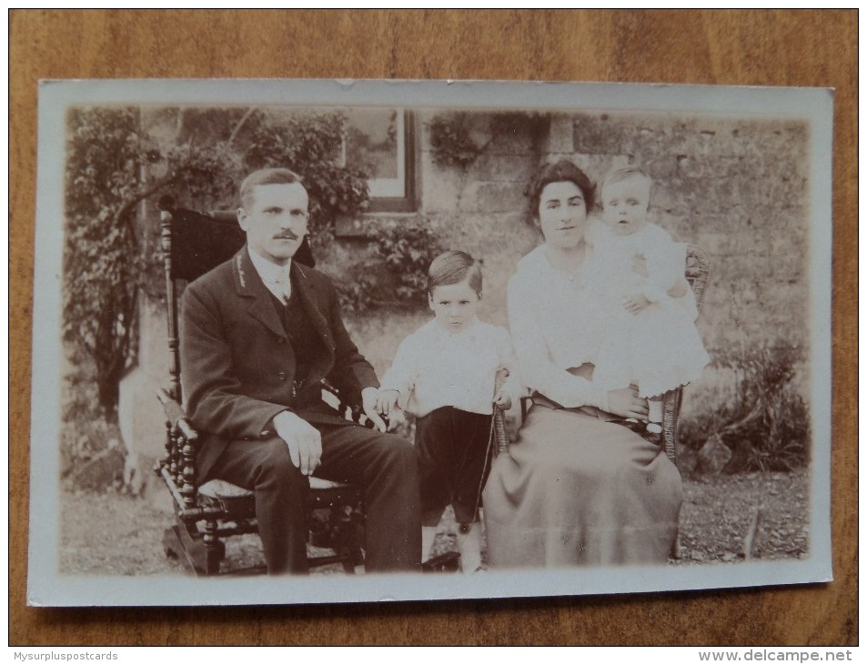 43027 PC: PEOPLE: Couple With Two Children. (Station Master?? -possibly Mk. Deeping Area) - Postcards