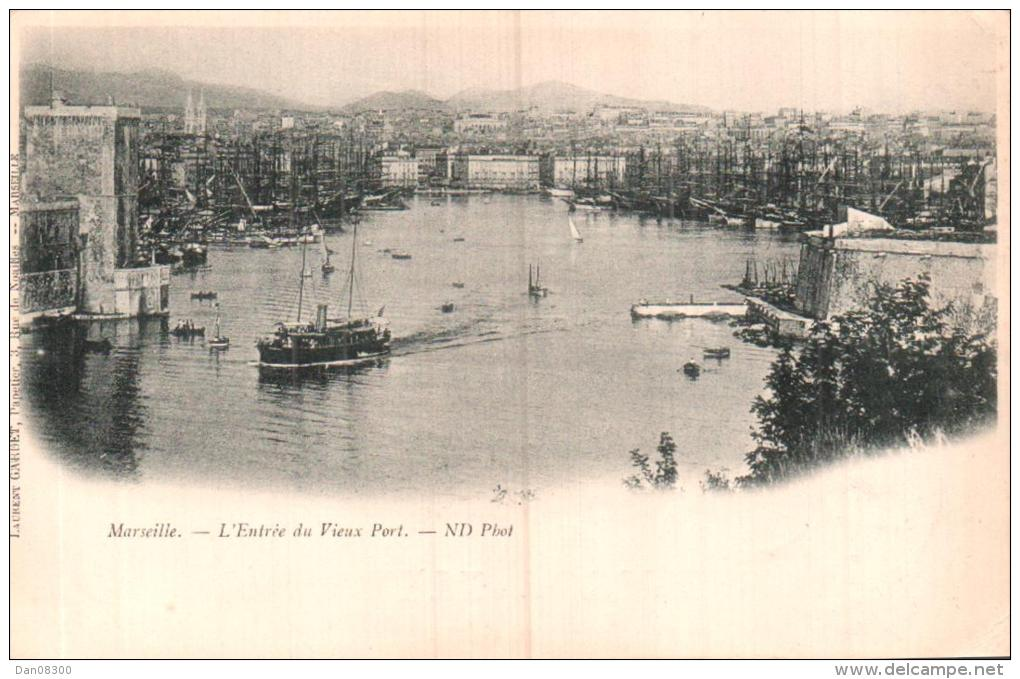 13 MARSEILLE L´ENTREE DU VIEUX PORT CARTE PRECURSEUR CIRCULEE 1901 - Marseille