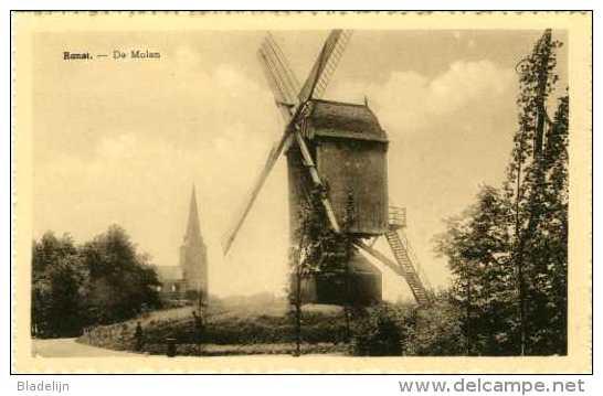 RANST (Prov. Antwerpen) - Molen/moulin - De Verdwenen Standaardmolen Van Dens Met De Kerk (voor 1950) - Ranst