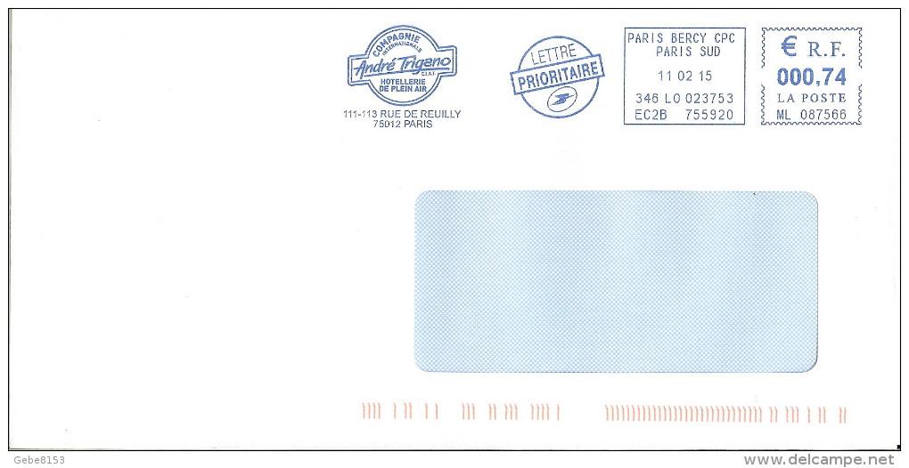 EMA ML 087566 Paris Bercy CPC 75 + Flamme Compagnie André Trigano - Hotels- Horeca