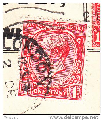 Env Affr Y&T 140 + Idem Perforé Obl LONDON Du 2.12.14 - 1902-1951 (Könige)