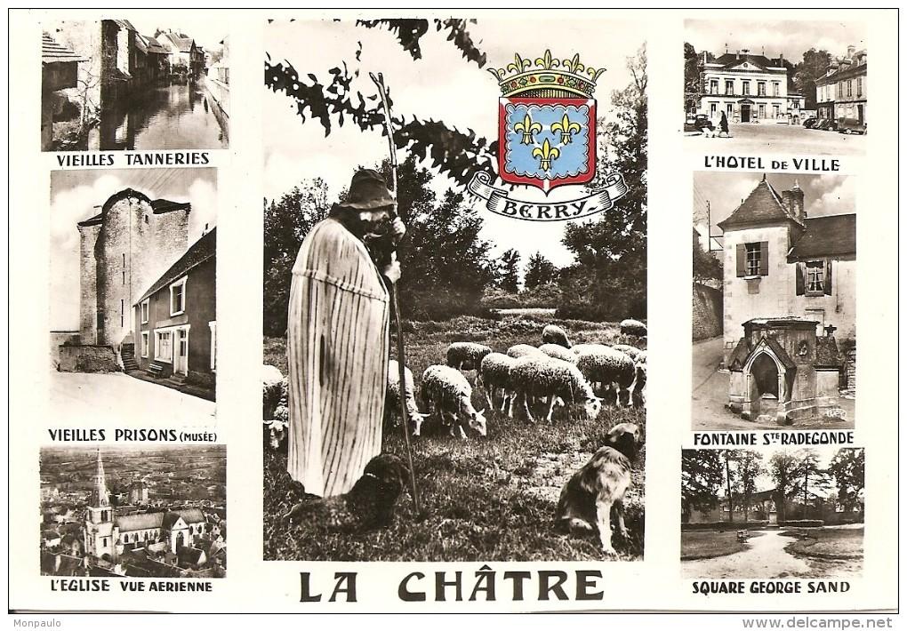 36. CPSM. Indre. La Chatre. Multi-vues (l'église, Vieilles Prisons, L'hôtel De Ville, Square Georges Sand) (8 Vues) - La Chatre