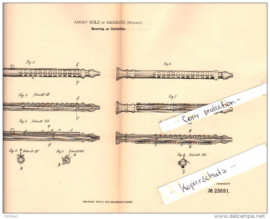 Original Patent - Adolf Rölz In Graslitz / Kraslice , 1883 , Klarinette !!! - Musikinstrumente