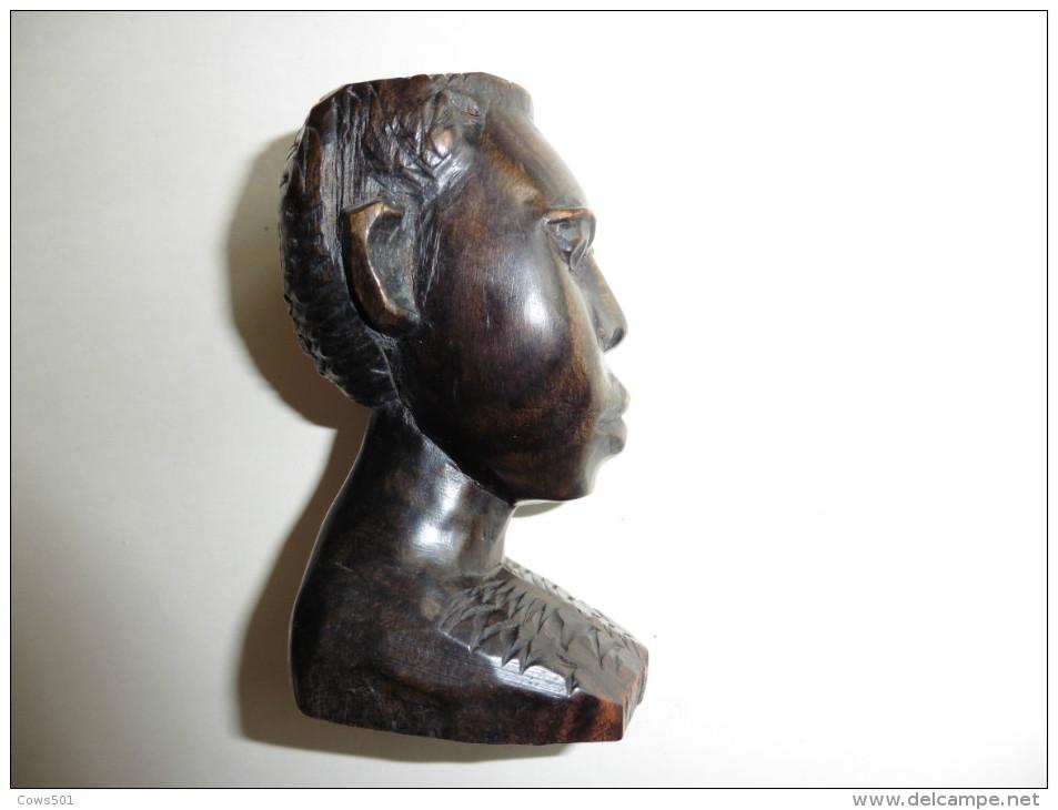 Tête ,Portrait Africain En  Bois   Noble Sculpté  Burkina Faso - Art Africain