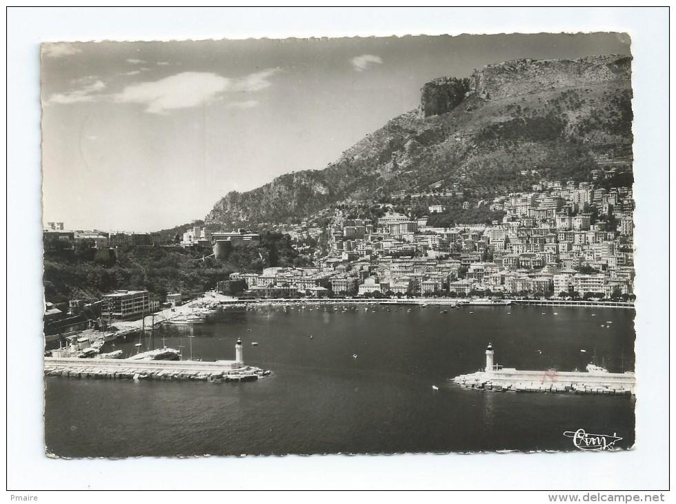 CPA CPSM Monaco Vue Aérienne Du Port, La Ville A Droite La Tete De Chien 1957 2 Phares Phare - Port