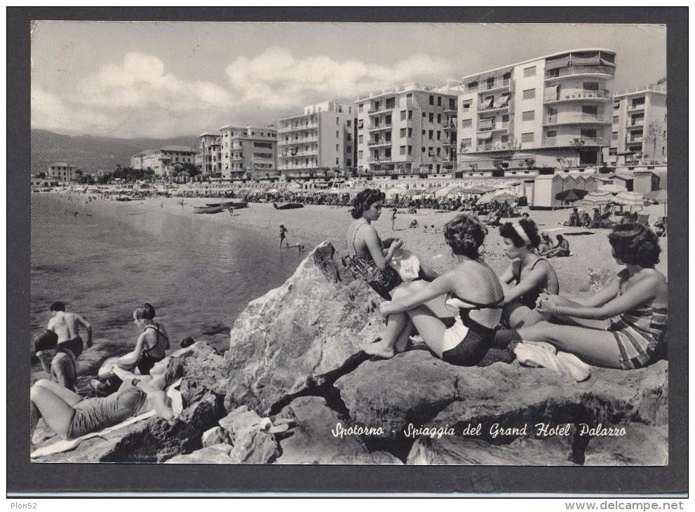 9257-SPOTORNO(SAVONA)-SPIAGGIA GRAND HOTEL PALAZZO-ANIMATA-FG - Savona