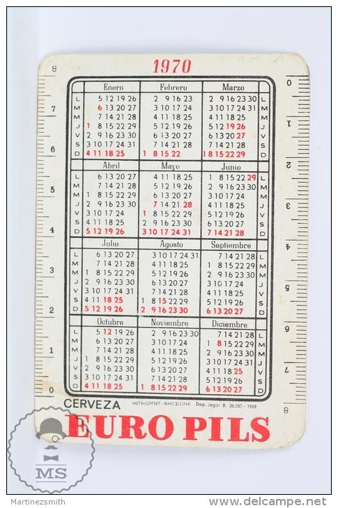 Vintage 1970 Small/ Pocket Calendar - Sexy Blonde Lady In Bath Suit - Spanish Beer Advertising Euro Pils - Calendarios