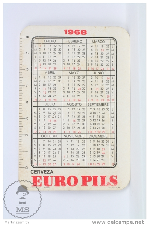 Vintage 1968 Small/ Pocket Calendar - Sexy Brunette Girl In Bath Suit - Spanish Beer Advertising Euro Pils - Calendarios
