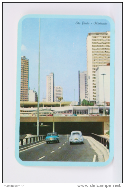Vintage 1976 Small/ Pocket Calendar - Sao Paulo - Minhocao, Brazil - Old Cars On High Way - Calendarios