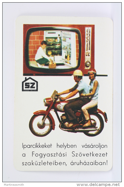 1972 Small/ Pocket Calendar - Happy New Year, Television & Old Motorcycle - Hungary Advertising - Calendarios