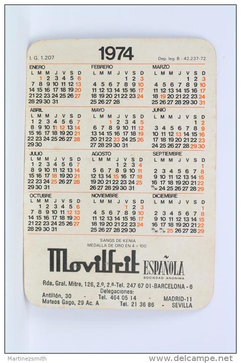 1974 Small/ Pocket Calendar - Athletics - Kenia Runner - Gold Medal In 4 X 100 - Tamaño Pequeño : 1971-80