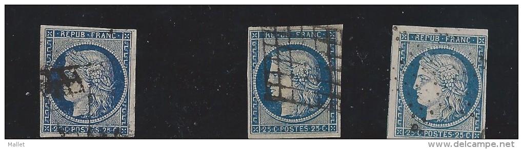Lot De 3 Timbres N°4, Oblitérés - 1849-1850 Ceres