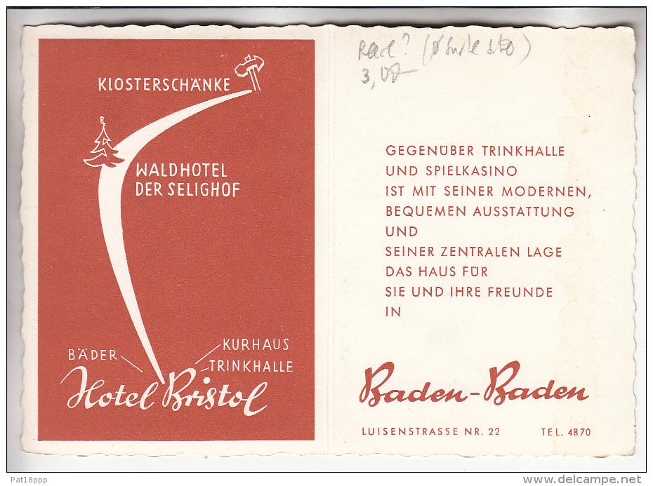 DEUTCHLAND Allemagne - BADEN BADEN : Hotel BRISTOL Luisenstrasse NR 22 - CPSM (pliable) Dentelée Noir Blanc GF - Baden-Baden