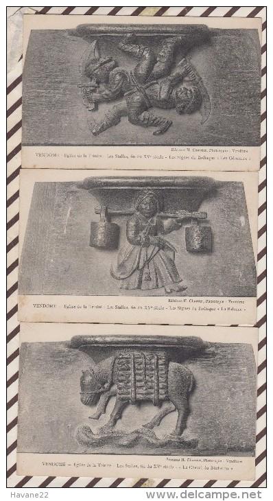 5AH687 Vendome Eglise De La Trinite Lot De 3 Cartes Zodiaque  / Cheval Du Bucheron 2 SCANS - Vendome