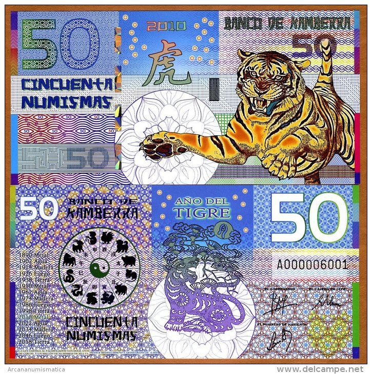 """KAMBERRA  50 NUMISMAS  2.010  """"Año Del Tigre"""" UNC/SC PLANCHA  T-DL-10.557 - Bankbiljetten"""